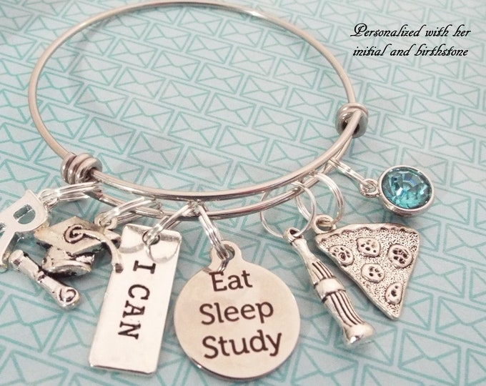 Girl Graduation Gift, Graduate Charm Bracelet, Back to School, College Grad, Personalized Gift, High School, Gift for Her, Silver Bracelet