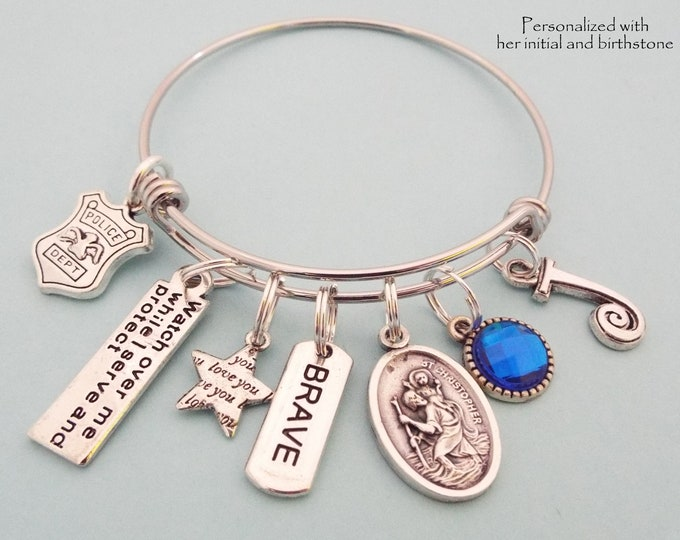 Gift for Female Police Officer, Personalized Gift, St Christopher Medal Charm Bracelet, Birthstone Jewelry, Initial Bracelet, Gift for Her