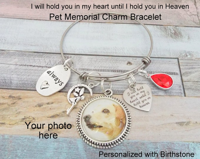 Dog Memorial Charm Bracelet, Dog Memory Bracelet, In Memory of Dog, Custom Photo Jewelry, Memory for Loss of Dog Gift, Personalized Gift
