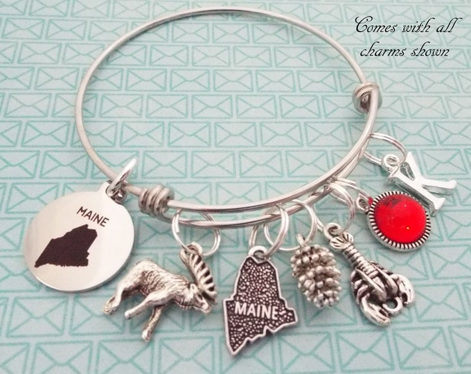 Maine Charm Bracelet, Gift for Maine Lover, Vacation Bracelet, State of Maine Gift, Personalized Gift, Personalized Jewelry, Travel Gift