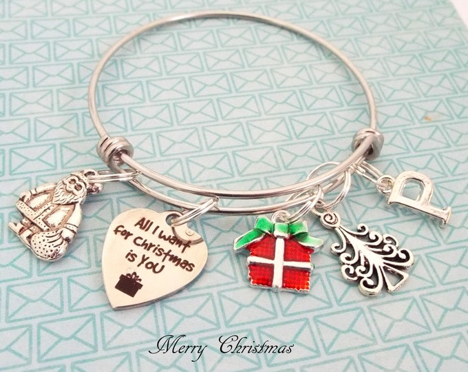 Christmas Jewelry, Holiday Charm Bracelet, Christmas Gift, Initial Jewelry, Personalized Gift, Santa Claus, Gift for Her, Custom Jewelry
