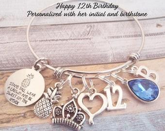 12th Birthday Gift For Girl Girls Charm Bracelet 12 Year Old Turning Her