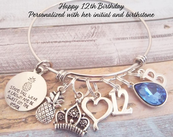 12th Birthday Gift for Girl, Girl's 12th Birthday Charm Bracelet, Birthday for 12 Year Old Girl, Gift for Girl Turning 12, Gift for Her