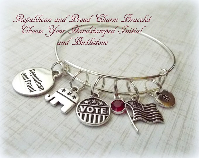 Election Charm Bracelet, Personalized Gifts, Gifts for Her, Gifts for Women, Vote Charm Bracelet, Gift for Friend, Republican and Proud