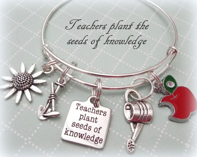 Teacher Gift, Teacher Appreciation Charm Bracelet, Graduation Gift for New Teacher, Thank You Gift Child's Teacher, Child to Teacher Gift