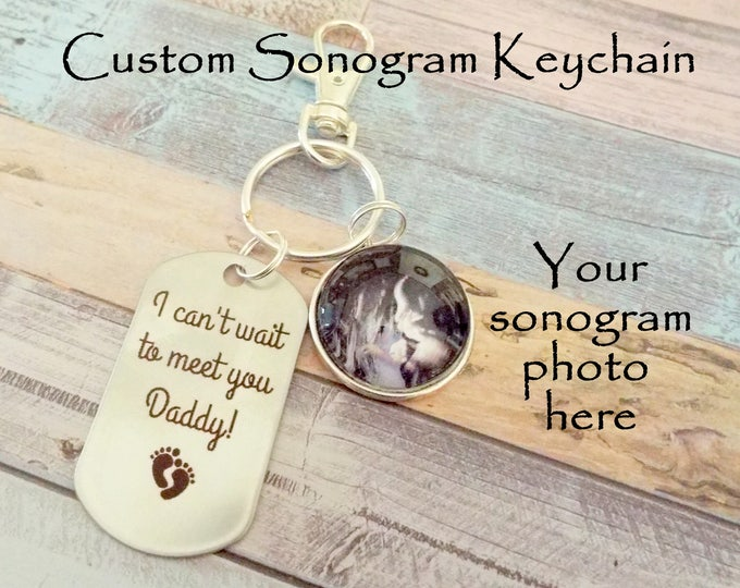 Sonogram Keychain, Sonogram Photo Keychain for Dad, New Father Gift, Gift for New Dad, Expectant Father Gift Keychain, Gift for Him