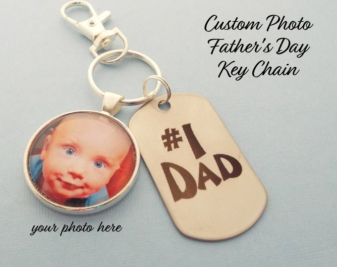 Dad Christmas Keychain, Gift for Father, Personalized Gift, Custom Photo Keychain, Stepfather Gift, Child Gift to Daddy, Gift for Man