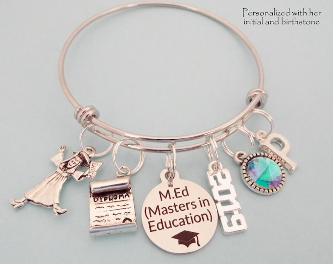 Teacher 2019 Graduation Gift, Masters Degree in Education Charm Bracelet, Girl Personalized Graduate, New Teaching, M.Ed College Graduate