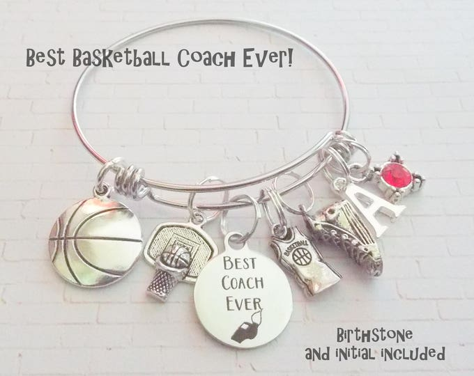 Basketball Coach Gift, Gift for Daughters Coach, High School Basketball Coach Charm Bracelet, Custom Sports Jewelry, Basketball Gift