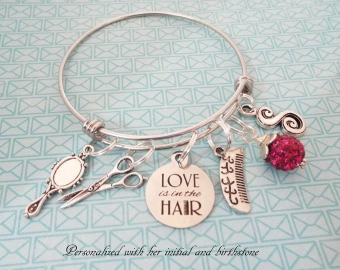 Hairdresser Gift, Personalized Hair Stylist, Hairdresser Graduation Charm Bracelet, Beautician Gift, Stylist Thank You, Salon Opening Gift