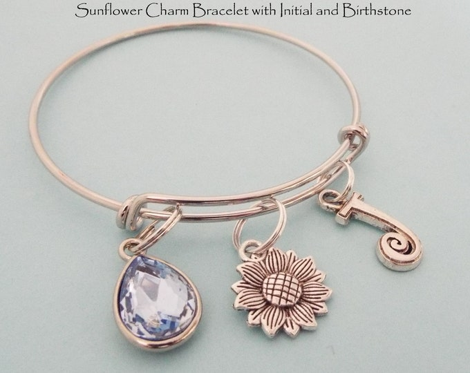 Sunflower charm bracelet, Personalized Gift, Gift for Her Personalized Bracelet, Initial, Birthstone, Monogram Birthday Gift, Friend Gift