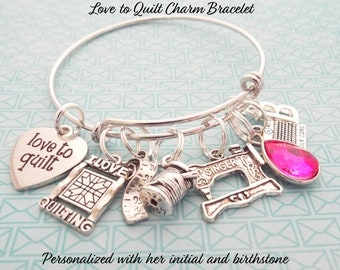 Gift For Quilter Charm Bracelet Grandmother Womans Birthday Her Mother Woman