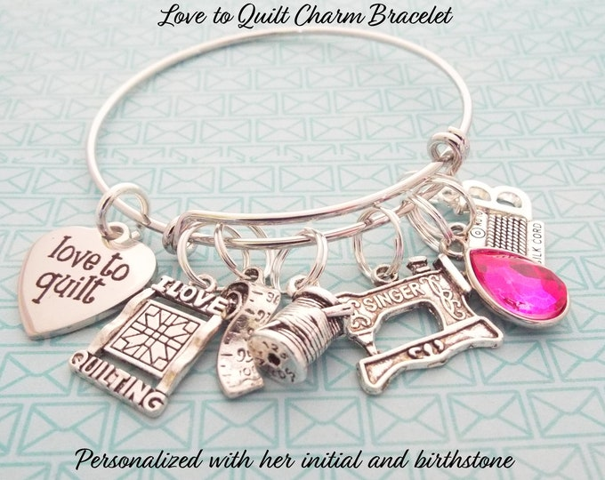 Gift for Quilter, Quilter Charm Bracelet, Grandmother Gift, Woman's Birthday Gift, Gift for Her, Mother Gift, Quilter Gift, Gift for Woman