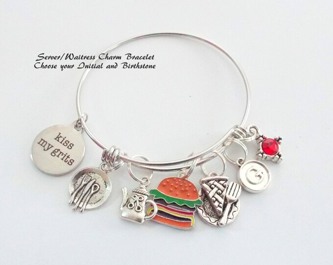 Waitress Gift, Personalized Gift, Gift for Her, Custom Jewelry, Employee Thank You, Retirement Gift, Employee Gift, Charm Bracelet