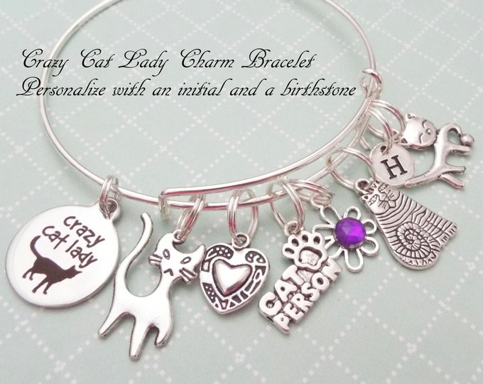 Crazy Cat Lady Charm Bracelet, Birthday for Woman, Cat Lover Gift, Animal Lover Gift, Custom Jewelry, Personalized Gift for Women, Girl Gift