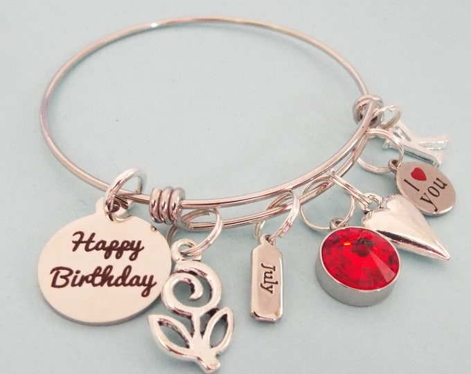 July Birthstone Charm Bracelet, July Birthday Gift for Girl, Girl's Birthday, Gift for Her, Personalized Gift, Customized Jewelry Woman