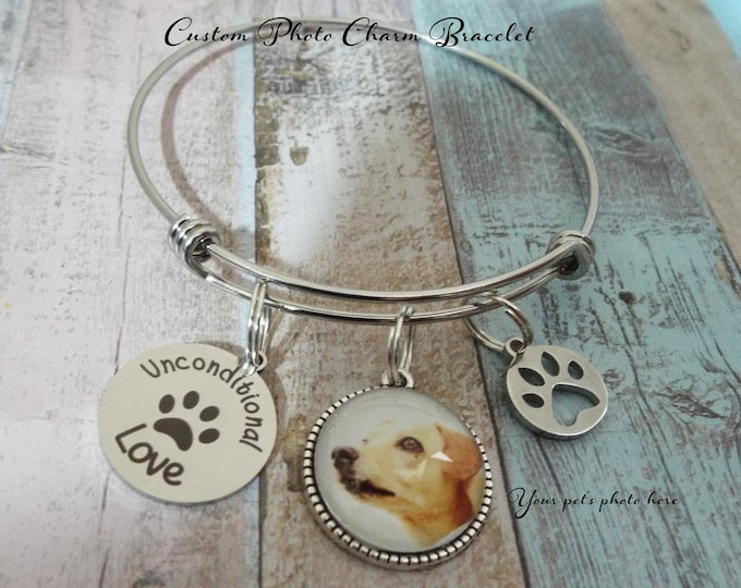 Dog Memorial Charm Bracelet, Pet Memorial Jewelry, Gift for Loss of Dog, Loss of Pet Gift, Custom Jewelry, Personalized Gift, Gift for Her