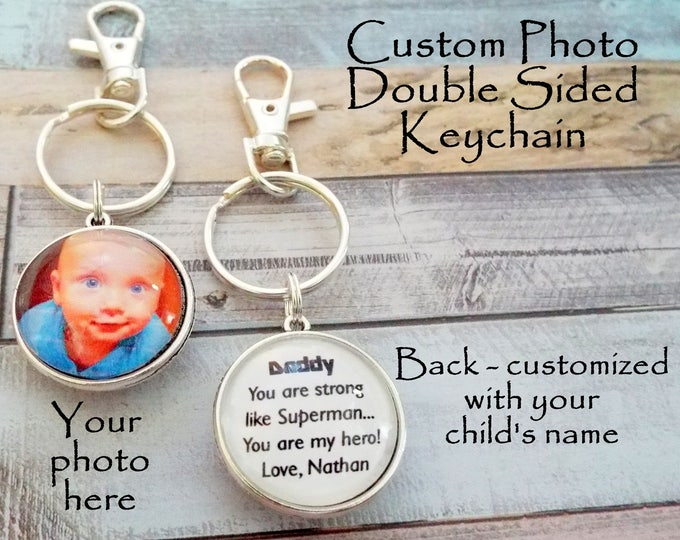 Father's Day Key Chain, Custom Photo Keychain for Dad, Child Gift to Father, Father's Day Gift, Daddy Gift from Daughter, Gift for Him