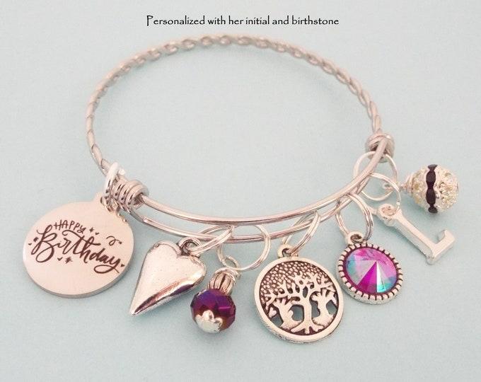 February Birthstone Charm Bracelet, Gift for February Birthday, Birthday Gift, Personalized Gift, Custom Jewelry, Birthday for Women