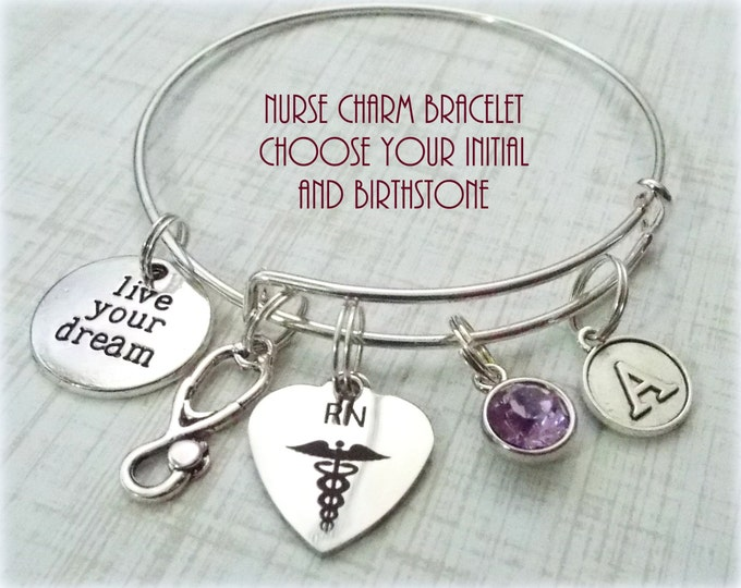 Nurse Graduation Charm Bracelet, Gift for Nurse, RN Graduation, RN Gift Ideas, Gift for RN, Gift for Her, Graduation for Her, Nurse Gift