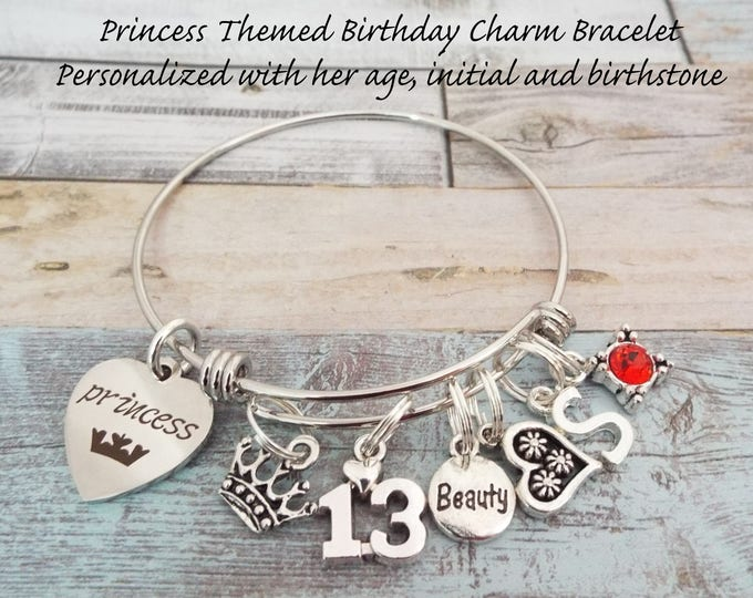13th Birthday Gift for Her, Teenage Girl Birthday, Girl's 13th Birthday Charm Bracelet, Gift for Daughter, Granddaughter Gift for Birthday