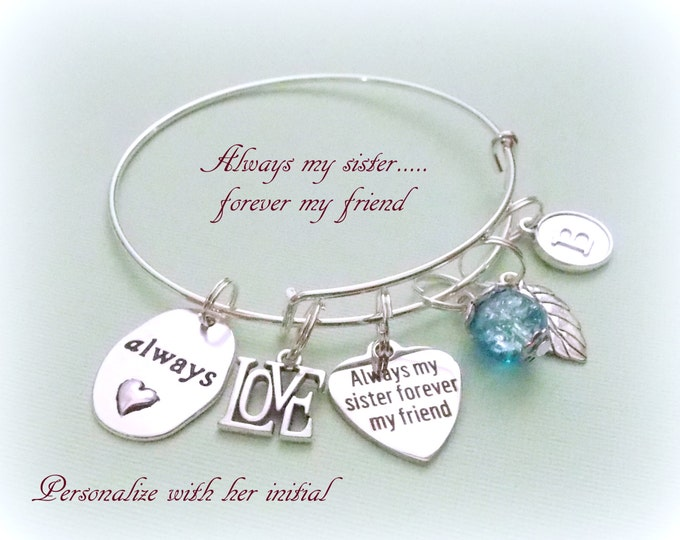 Sister Birthday Charm Bracelet, Gift for Sister, Personalized Gift, Pearl Jewelry, Initial Bracelet, Gift for Her, Bangle Bracelet, Girl