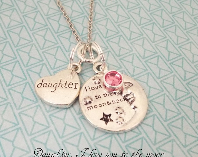 Love You to the Moon and Back Birthstone Necklace, Granddaughter Gift, Daughter Gift, Birthstone Jewelry, Personalized Gift, Gift for Her