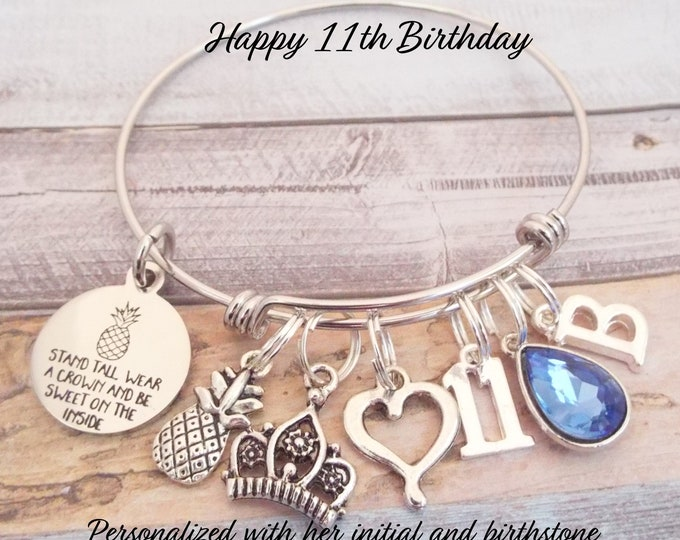Girl's 11th Birthday Charm Bracelet, 11th Birthday Girl, Birthday Gift Girl, Custom Birthday Gift for Her, Children's Jewelry, Gift for Girl