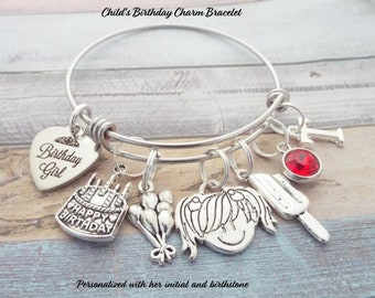 Girls Birthday Charm Bracelet Childs Gift Jewelry Childrens Girl Little