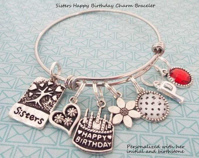 Sisters Birthday Charm Bracelet, Birthday Gift for Sister, Sister Gift, Personalized Gift, Gift for Her, Birthday for Her, Sister Jewelry