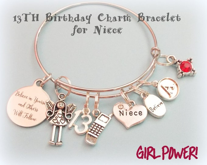 Birthday Gift Girl, Niece Birthday Gift, 13th Birthday Gift for Girl, Personalized 13th Birthday Charm Bracelet, Personalized Gift for Her