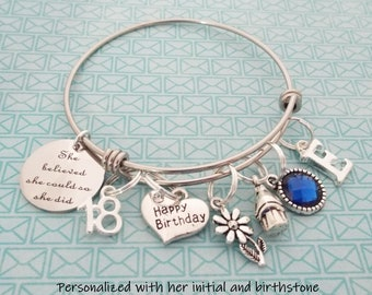 18th Birthday Gift For Daughter Happy Charm Bracelet Personalized Her Teenage Girl