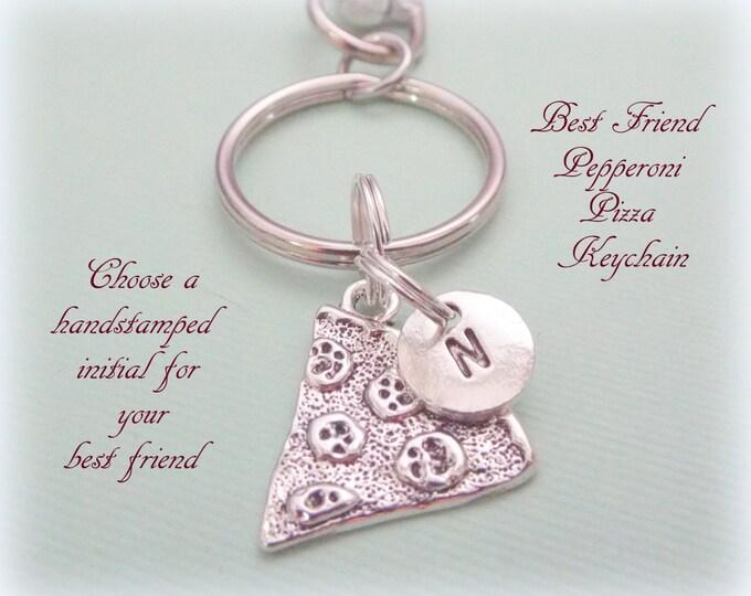 Pizza Keychain, Best Friend Pizza Keychain, Pepperoni Pizza Best Friend Gift, Gift for Best Friend, Personalized Gift, Initial Key Chain