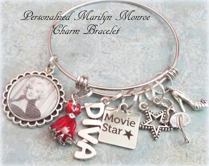 Marilyn Monroe Charm Bracelet, Daughter Birthday Gift, Granddaughter Birthday Gift, Gift for Marilyn Monroe Fan, Movie Star Charm Bracelet
