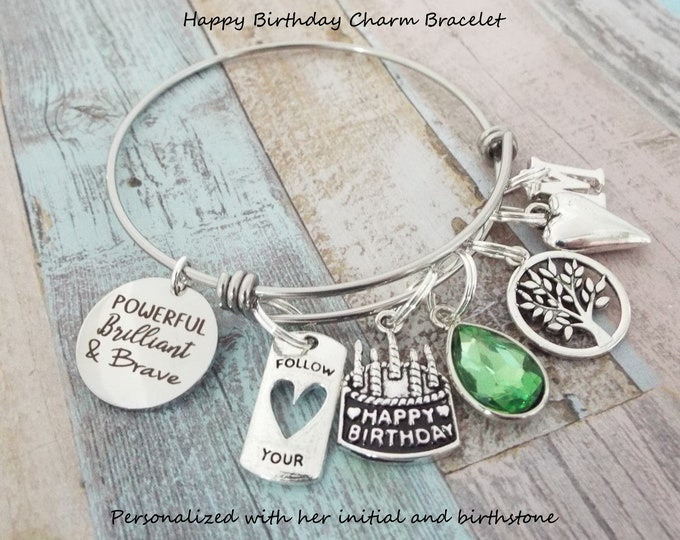 Girl Birthday Charm Bracelet, Gift for Girl's Birthday, Personalized Gift, Silver Bracelet, Gift for Her, Custom Jewelry, Women's Birthday