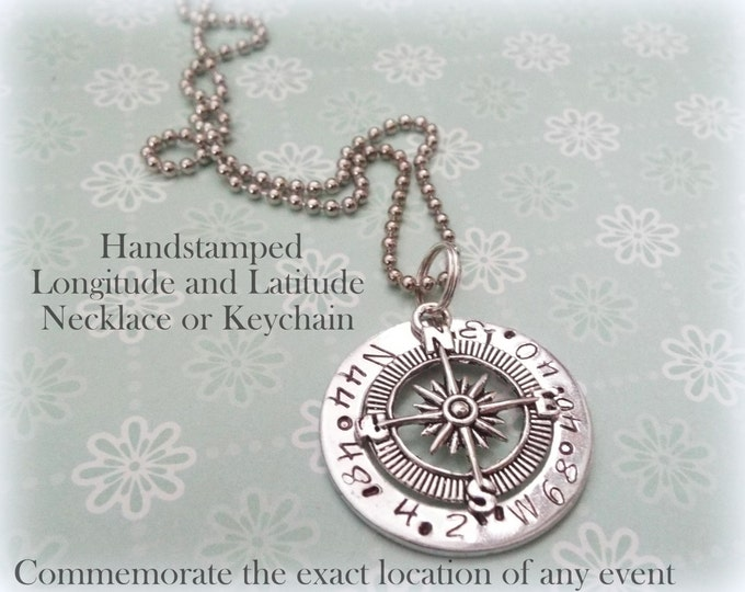 Longitude Latitude Necklace Keychain, Men's Jewelry, Gift for Boyfriend, Personalized for Him, Personalized for Husband, Unisex Gift For Him