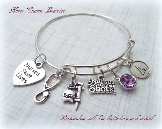 Nurse Gift Ideas, Nurse Charm Bracelet, Gift Ideas for RNs, Nurse Graduation Gift, Personalized Gift, Personalized Jewelry, Nurse Gift