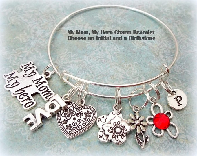 Birthday Gift for Mom, Gift for Mother, Custom Mother Charm Bracelet, Mom Birthday Gift, Daughter to Mother Gift, Personalized Gift