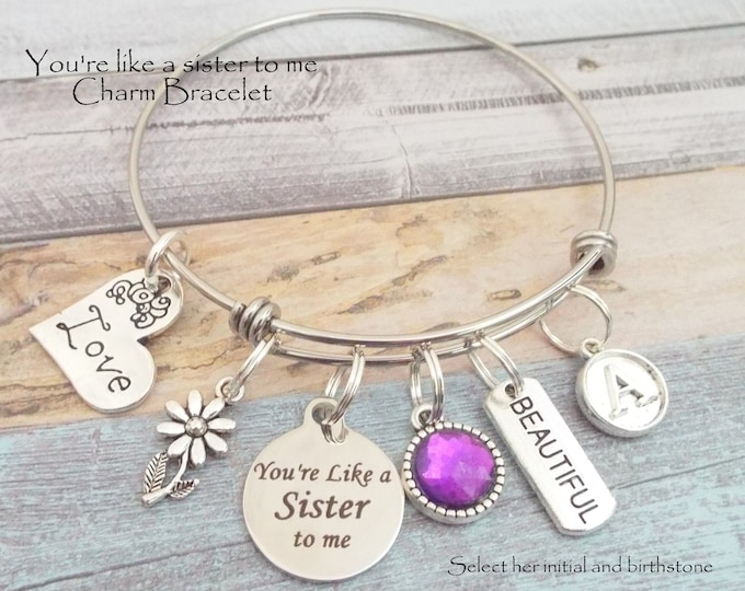 Like a Sister to Me Charm Bracelet, Gift for Best Friend, Birthday Gift for Friend, Personalized Gift, Gift for Bestie, Gift for Her