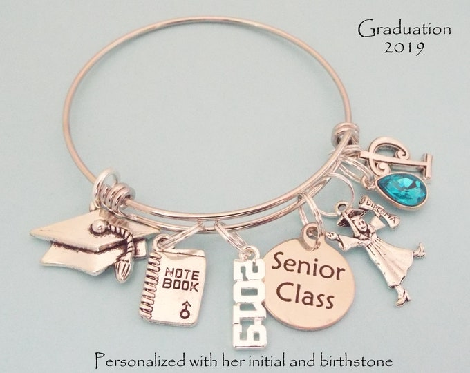 Graduation Gift for Girls, Gift for Girl Graduating, High School, 2019 Senior Class Charm Bracelet, Personalized Gift, Graduation for Her