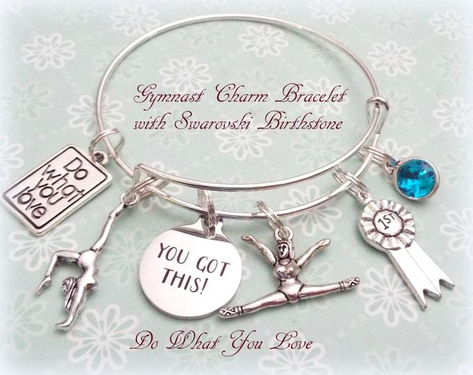 Gymnast Charm Bracelet, Gift for Gymnast, Sports Lover Gift, Gift for Her, Gymnastic Gift, Personalized Gift, Personalized Jewelry