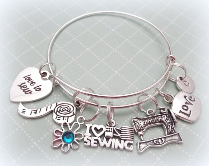 Sewing Lover Gift, Love to Sew Charm Bracelet, Gift for Mom, Grandmother Gift, Personalized Gift for Her, Personalized Jewelry, Sewing Lover