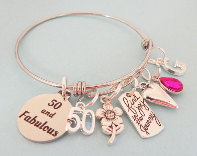 50th Birthday Charm Bracelet, Gift for Woman Turning 50, 50th Birthday Gift, Handmade Jewelry, Personalized Gift, Custom Jewelry, Girl Gift
