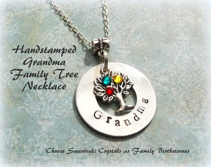 Family Tree Necklace, Grandmother Gift, Mother Necklace, Personalized Gift, Custom Jewelry, Birthstone Jewelry, Gift for Her, Custom Jewelry