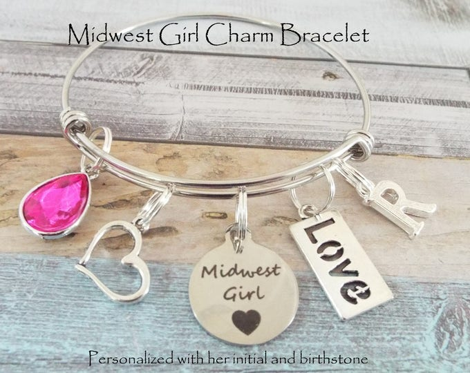 Girl Birthday, Charm Bracelet, Personalized Gift, Birthday Gift, Gift for Her, Custom Jewelry, Custom Bracelet, Birthstone Jewelry, Custom
