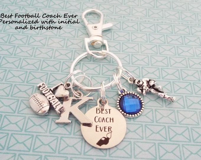 Gift for Football Coach, Football Coach Gift, Sports Keychain, Football Keychain, Gift for Her, Coach Gift, Sports Gift, Gift for Him