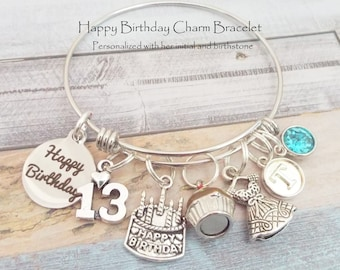 Personalized 13th Birthday Girl Charm Bracelet Gift For 13 Year Old Teenage Teenager