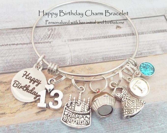 Personalized 13th Birthday Girl Charm Bracelet, Gift for 13 Year Old Girl,  Birthday Gift for 13th Birthday, Teenage Girl, Teenager