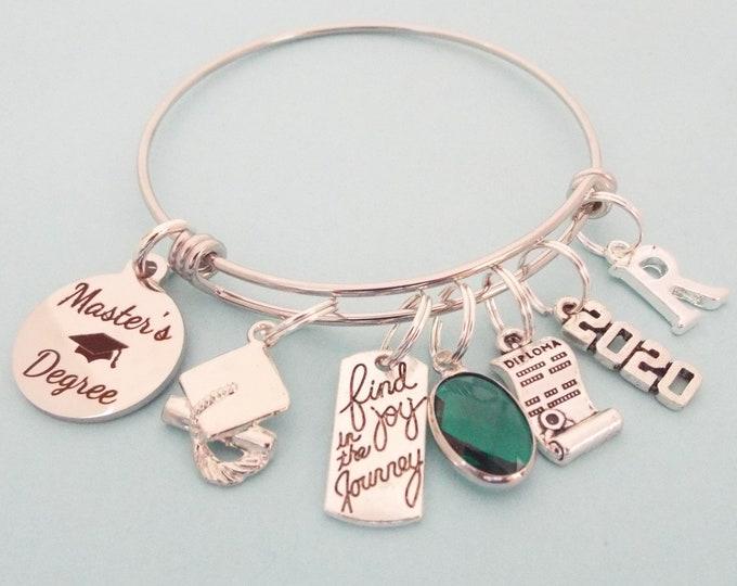 Master's Degree Graduation Gift, Masters Degree Charm Bracelet, College Graduate Gift, Women's Graduating, Personalized Gift