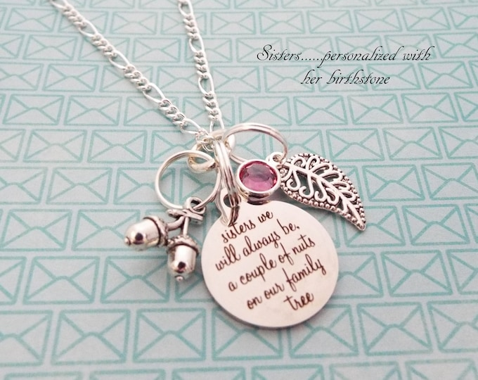 Sister Gift for Christmas, Personalized Gift with Birthstone and Initial, Custom Gift for Her, Family Gift, Sister to Sister Charm Necklace
